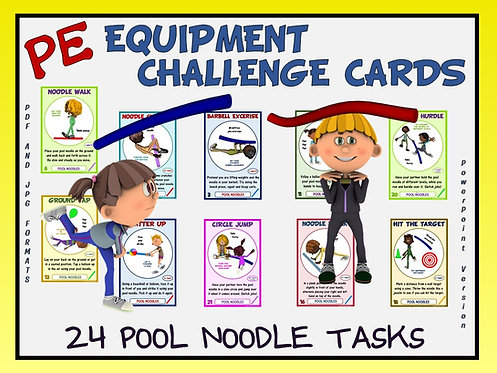 PE Equipment Challenge Cards - 24 Pool Noodle Tasks (includes Pow