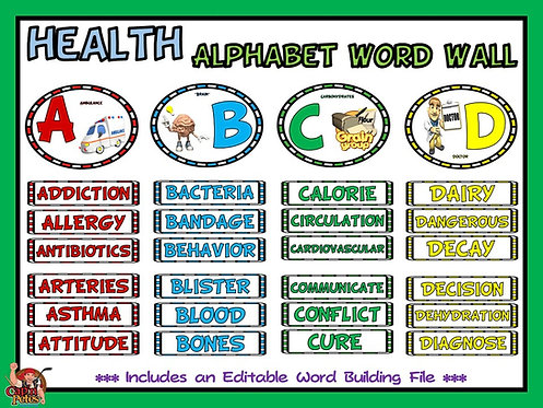 Health Alphabet Word Wall- Complete Display and Editable Word Building File