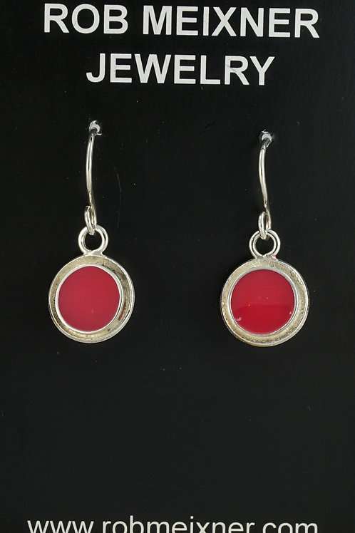 Red Resin Dot Sterling Silver Drop Earrings On Wires