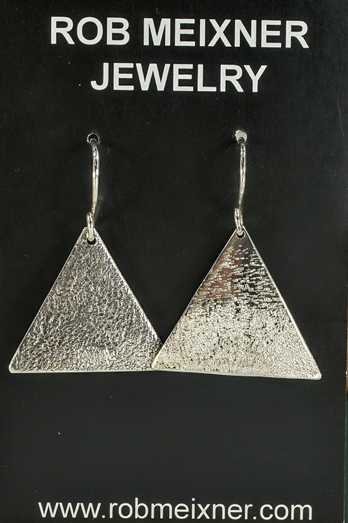 Textured Triangular Sterling Silver Earrings on Wires