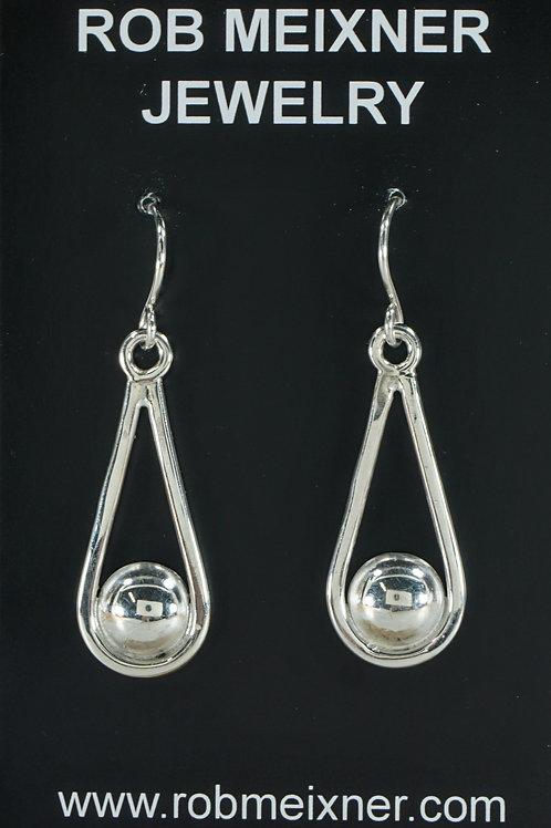 Drop Dot Sterling Silver Earrings