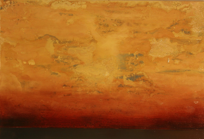 Onrushing 24 x 36 inches oil and metallic pigment on panel