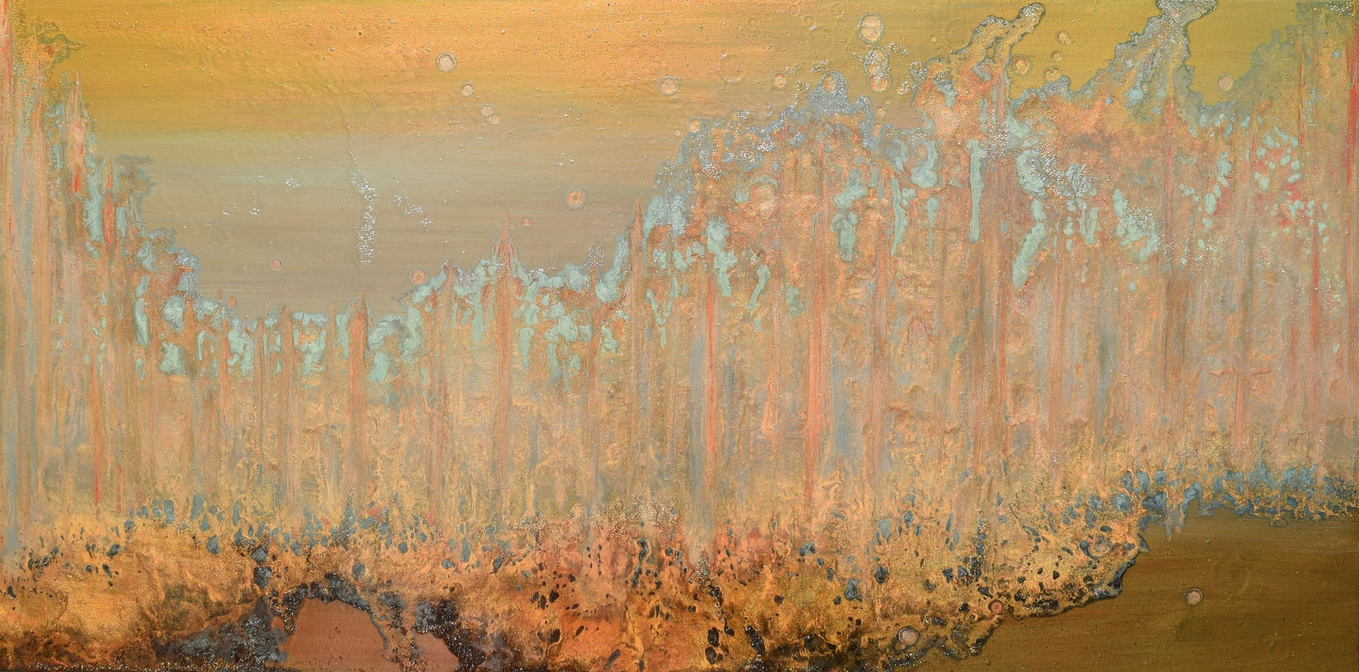 Faultline 24 x 48 inches oil and metallic pigment on panel SOLD