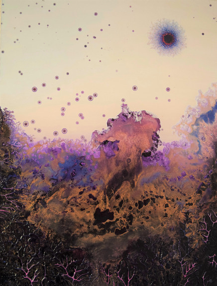 """""""Alluvial Burst"""" 24 x 18 inches oil and metallic pigment on panel SOLD"""
