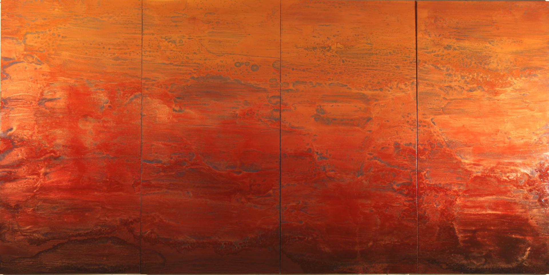 Big Red 48 x 96 inches oil and metallic pigment on panel SOLD
