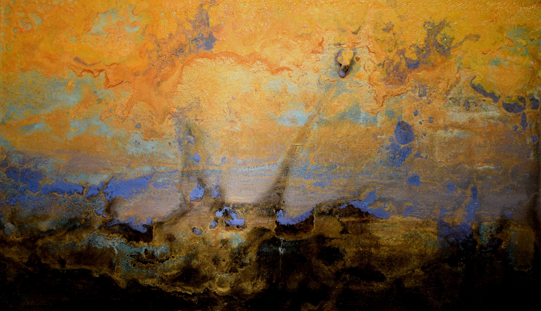 Sunset Drive to the Studio 12 x 24 inches oil and metallic pigment on panel