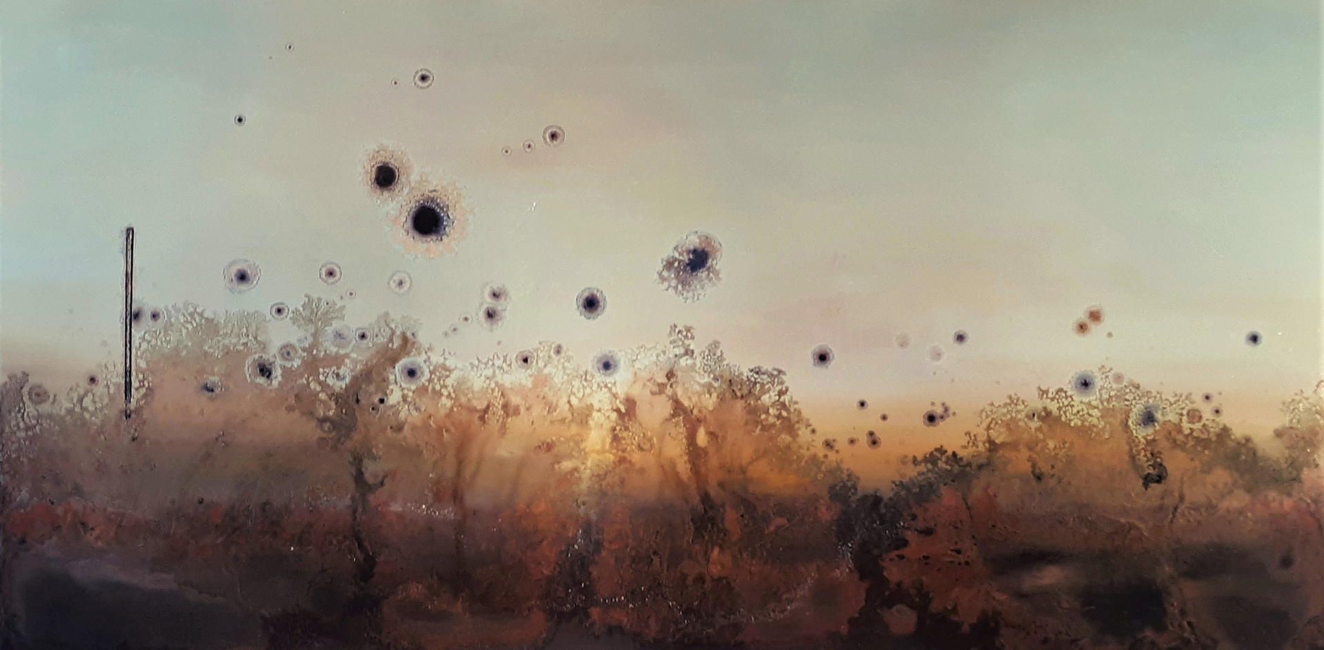 """""""Return Home"""" 30 x 60 inches oil and metallic pigment on panel SOLD"""