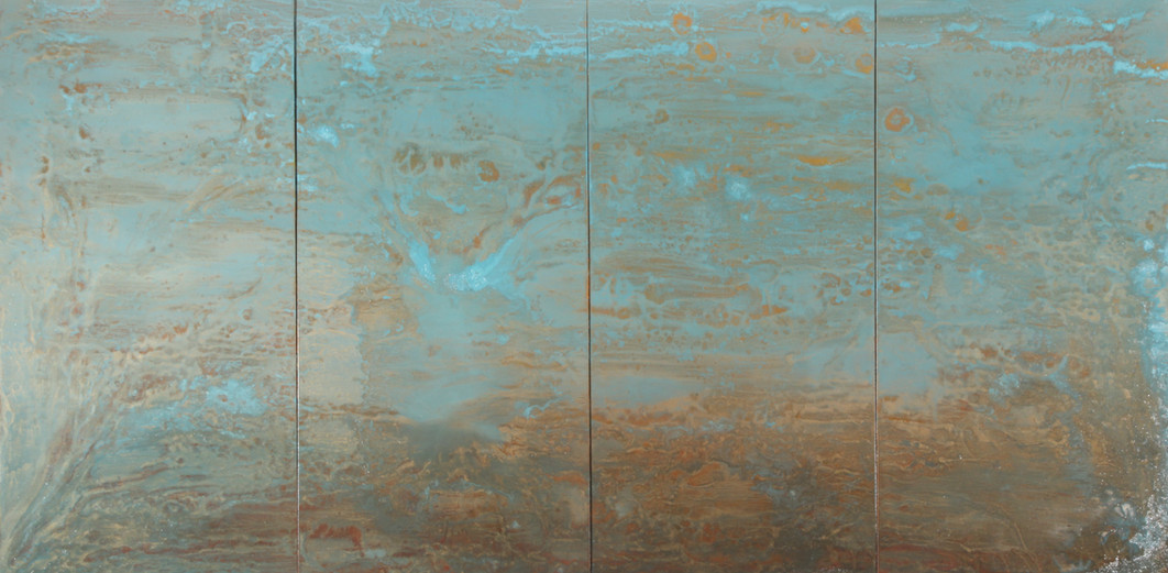 Blue Escape 48 x 96 inches oil and metallic pigment on panel SOLD