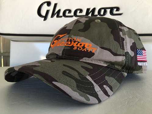 Custom Gheenoe Camo Orange Logo Cotton Hat