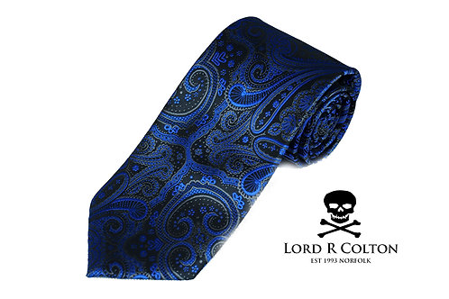 Lord R Colton Studio Black & Electric Blue Paisley Woven Necktie
