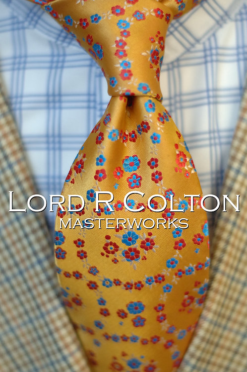 Lord R Colton Masterworks London Gold Floral Woven Necktie