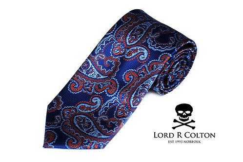 Lord R Colton Studio Royal Blue & Orange Paisley Woven Necktie