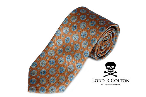 Lord R Colton Studio Orange & Aqua Woven Necktie