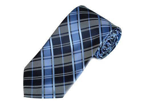 Lord R Colton Studio Navy Cadet Blue Plaid Necktie