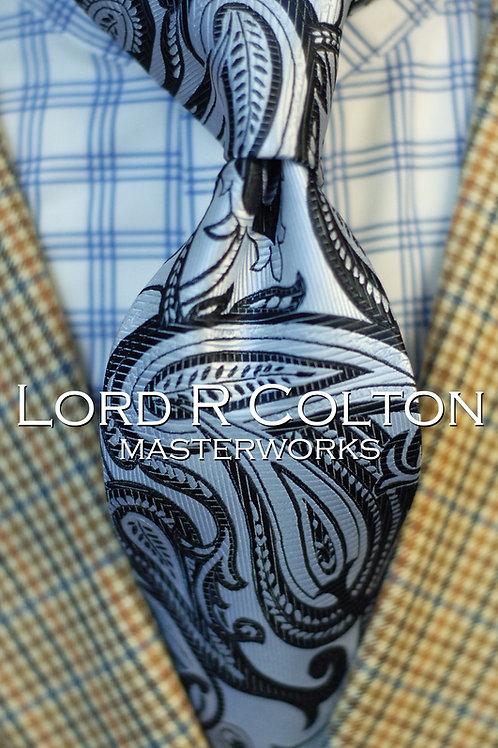 Lord R Colton Masterworks Dubai Silver Paisley Woven Necktie