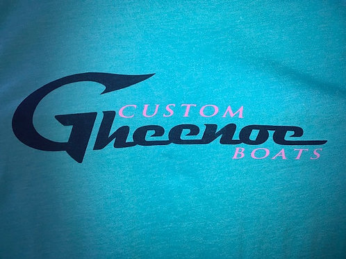 Custom Gheenoe Teal Mauve Navy Logo Tee