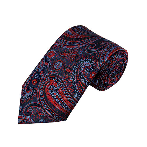 Lord R Colton Studio Navy & Red Tapestry Necktie