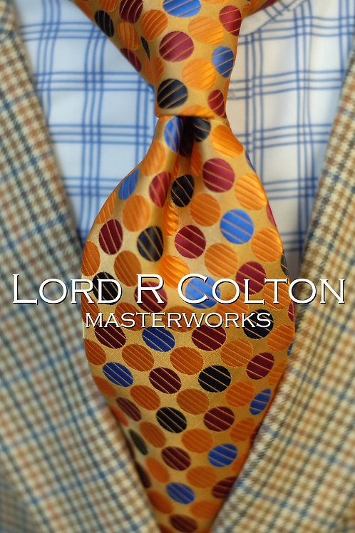 Lord R Colton Masterworks Richmond Gold Dot Woven Necktie