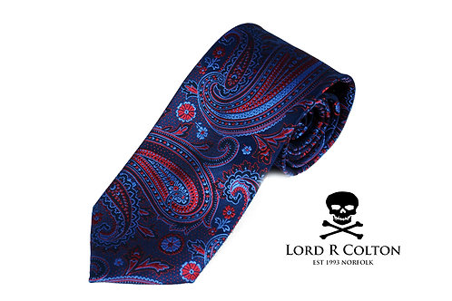 Lord R Colton Studio Oceana Blue & Red Paisley Woven Necktie