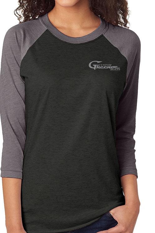 Custom Gheenoe Unisex Dark Gray 3/4 Logo Tee