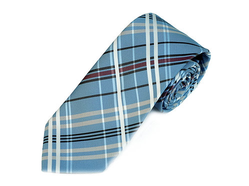 Lord R Colton Studio Sky Blue Plaid  Necktie