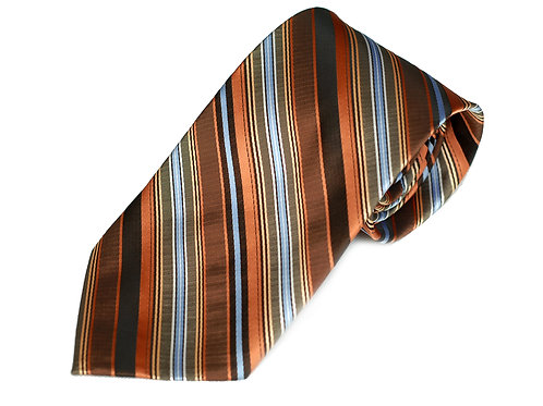 Lord R Colton Copper Blue Stripe Woven Necktie