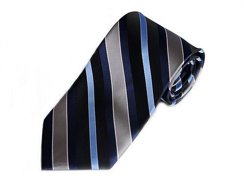 Lord R Colton Black Gray Cadet Stripe Necktie