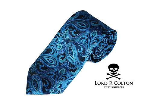 Lord R Colton Studio Black Turquoise Paisley Woven Necktie