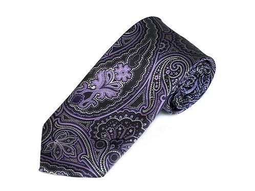 Lord R Colton Studio Onyx Purple Paisley Necktie