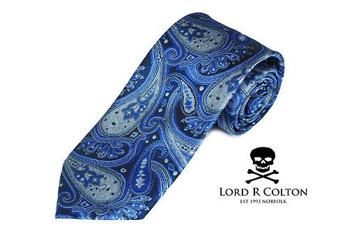 Lord R Colton Studio Glacier Blue Paisley Woven Necktie