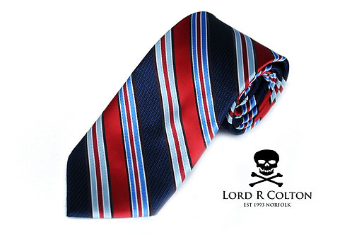 Lord R Colton Studio Red & Navy Stripe Woven Necktie