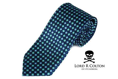 Lord R Colton Studio Sapphire Blue Geometric Woven Necktie