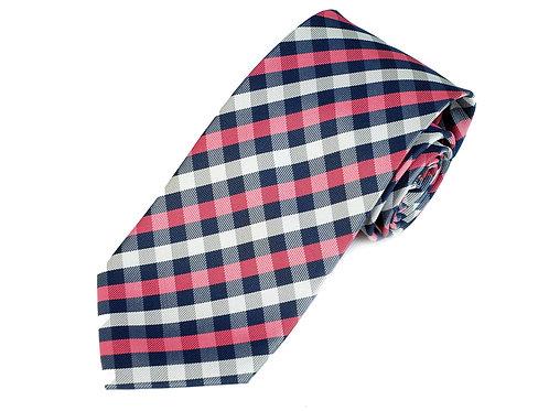 Lord R Colton Studio Navy Pink Check Necktie