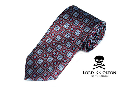 Lord R Colton Studio Red & Gray Geometric Woven Necktie
