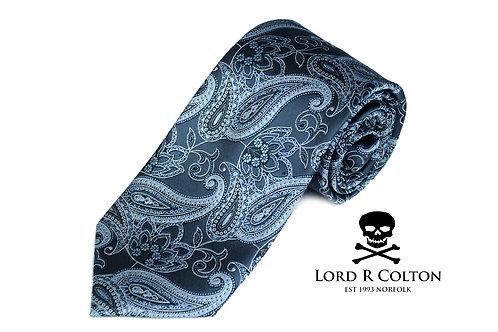 Lord R Colton Studio Pewter Gray Paisley Woven Necktie