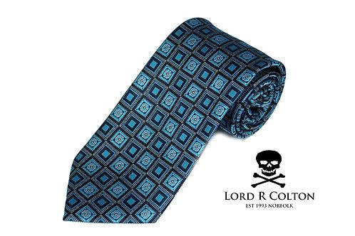Lord R Colton Studio Black Turquoise Geometric Woven Necktie