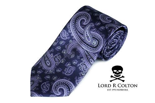 Lord R Colton Studio Eggplant Purple Paisley Woven Necktie