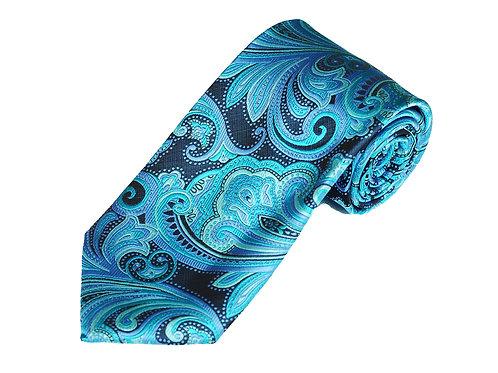Lord R Colton Studio Black Aqua Paisley Necktie