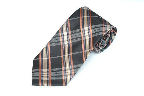 Lord R Colton Black Gold Copper Plaid Necktie