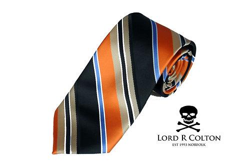 Lord R Colton Studio Orange Navy Gold Stripe Woven Necktie