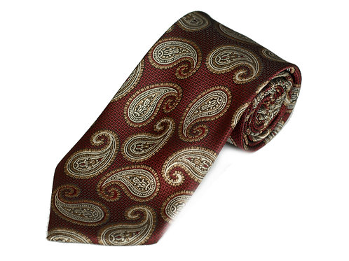Lord R Colton Burgundy Gold Paisley Woven Necktie