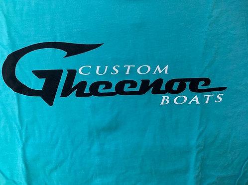Custom Gheenoe Teal Black White Logo Tee