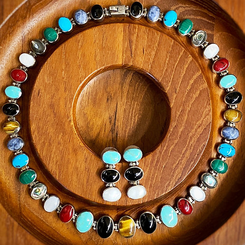 Taxco Multi-Stone Modernist Necklace + Earring Set