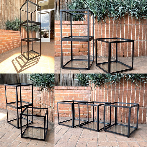 SOLD! Stacking Black Steel and Glass Cubes • 1 Set of 3 Cubes