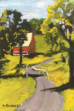 Down the Road, gouache, 3x5, SOLD