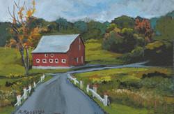 Ridgeview Valley Barn, gouache, 3x5, Pri