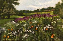 Marsh Meadow, gouache, 3x5, SOLD