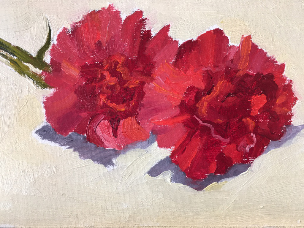 Red Carnations, oil, 5x7, NFS
