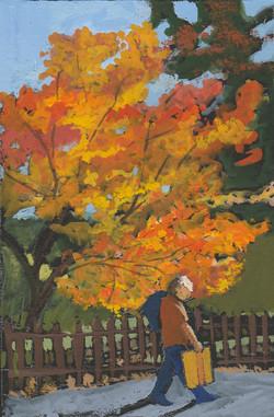 Fall Walk, gouache, 3x5, Private Collect