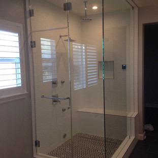 Steam shower with glass